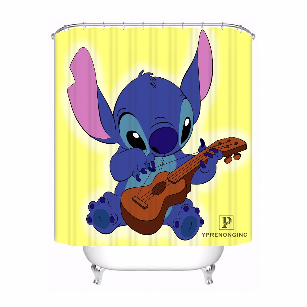 Custom Lilo And Stitch Waterproof Shower Curtain Home Bath Bathroom s Hooks Polyester Fabric Multi Sizes#180421-Sina-06