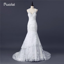 Real Photo Sexy Bridal Gown Sweetheart Appliques Crystal Beaded Mermaid Wedding Dresses 2017 Vestido de Noiva Longo FW87