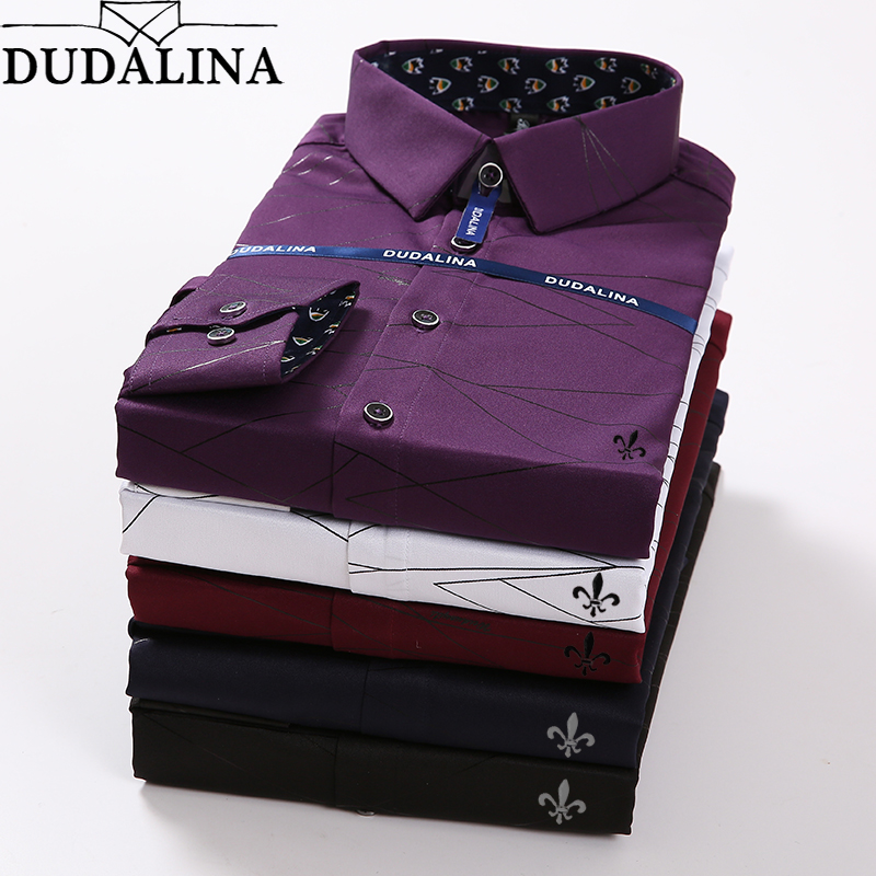 Dudalina Stripe Shirt Men Camisa Masculina Long Sleeve Blouse Male Social Masculina Slim Fit Reserve Sergio K Jacquard