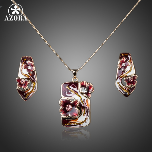 AZORA Gold Color Dark Red Flower Oil Painting Pattern Stud Earrings and Necklace Jewelry Set TG0031 starry pattern gold plated alloy rhinestone stud earrings for women pink pair