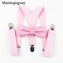 Комплект для мальчиков и девочек с подтяжками и бантом; свадебные банты на подтяжках для маленьких детей; галстук-бабочка в горошек; пояс на подтяжках