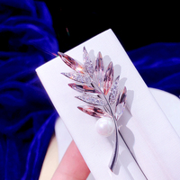 ASNORA Warme Farben new arrival of brooches for women luxury inlaid Zircon olive leaf brooch pins shaped scarves for lady