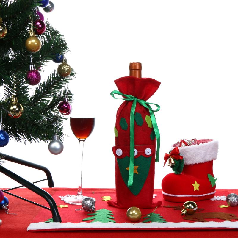 Christmas tree wine bottle cover protective bag christmas for Wine bottle christmas tree frame for sale