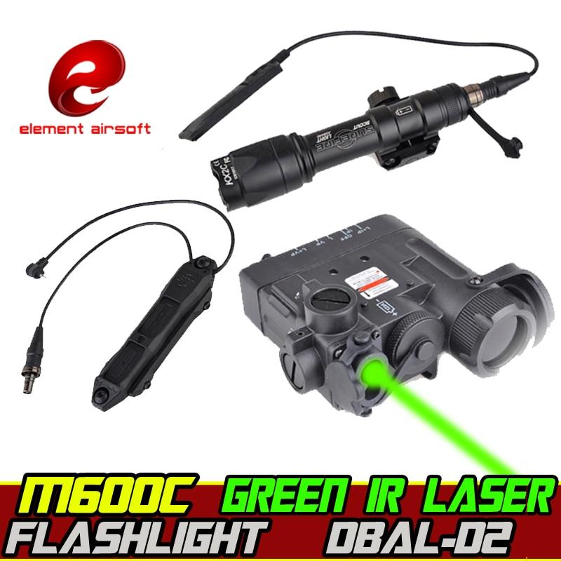 elemento airsoft surefir m600c arma luz laser verde dbal d2 ir lazer interruptor arma wapens 20mm