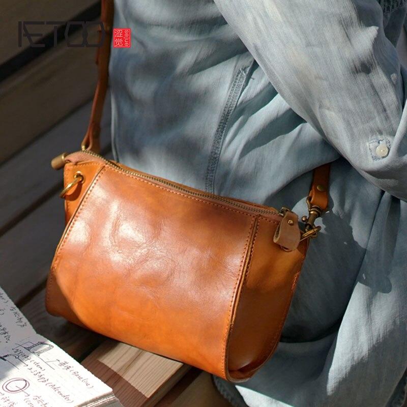 AETOO British retro handmade cowhide leather one shoulder diagonal back diagonal bag casual small ladies female