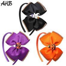AHB Halloween 5 Solid Big Bow Hairband for Girls Hair Bows Handmade Grosgrain Ribbon Headband Funny Gift Party Headwear