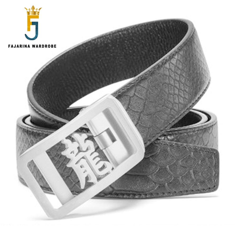 FAJARINA Men Unique Chinese Character Dragon Stainless Steel Buckle Belt Top Quality Scale Pattern Cowhide Leather Belts LUFJ176 in Men 39 s Belts from Apparel Accessories