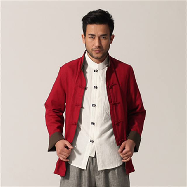 Army Green Red Reversible Men Cotton Linen Jacket Chinese Traditional Kung Fu Coat Two-Side Overcoat M L XL XXL XXXL  MN014