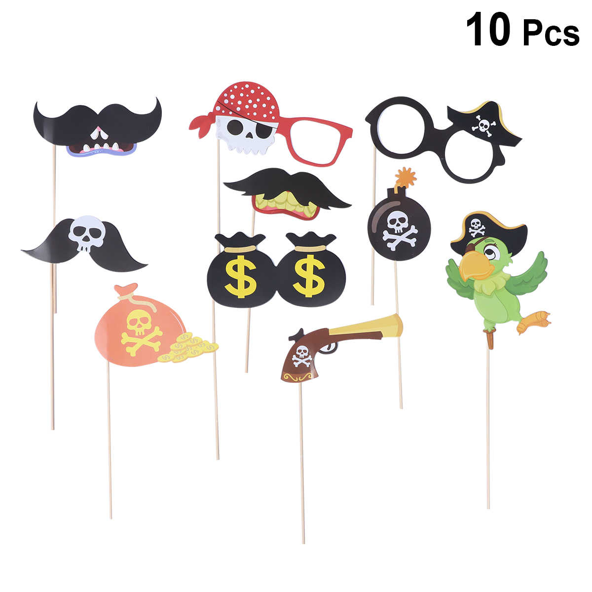 10pcs Photobooth Props Birthday Photo Props Pirate Theme Cartoon Paper Mask Selfie Props Photo Props Photo Booth Props Party
