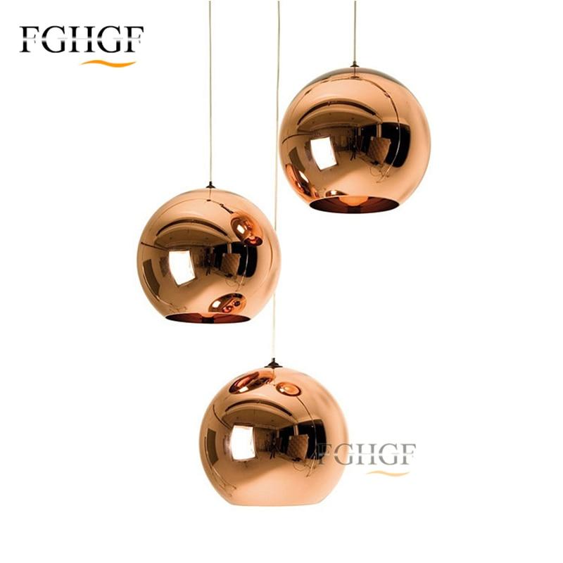 Modern Copper Sliver Shade Mirror Chandelier Light Fixture E27 Bulb LED Hanging Lustre Lamp Christmas Glass Ball Lighting