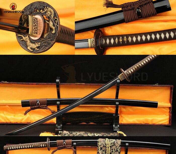 BLACK FULL TANG BLADE JAPANESE SAMURAI SWORD KATANA VERY SHARP