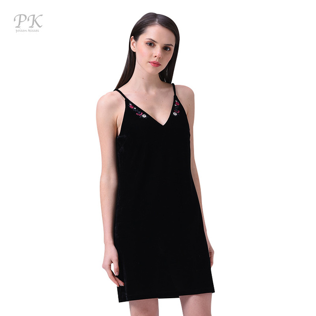 PK Spring Summer dress Embroidery velvet deep V backless Party sexy dresses Black shoulder-straps dresses Vestidos