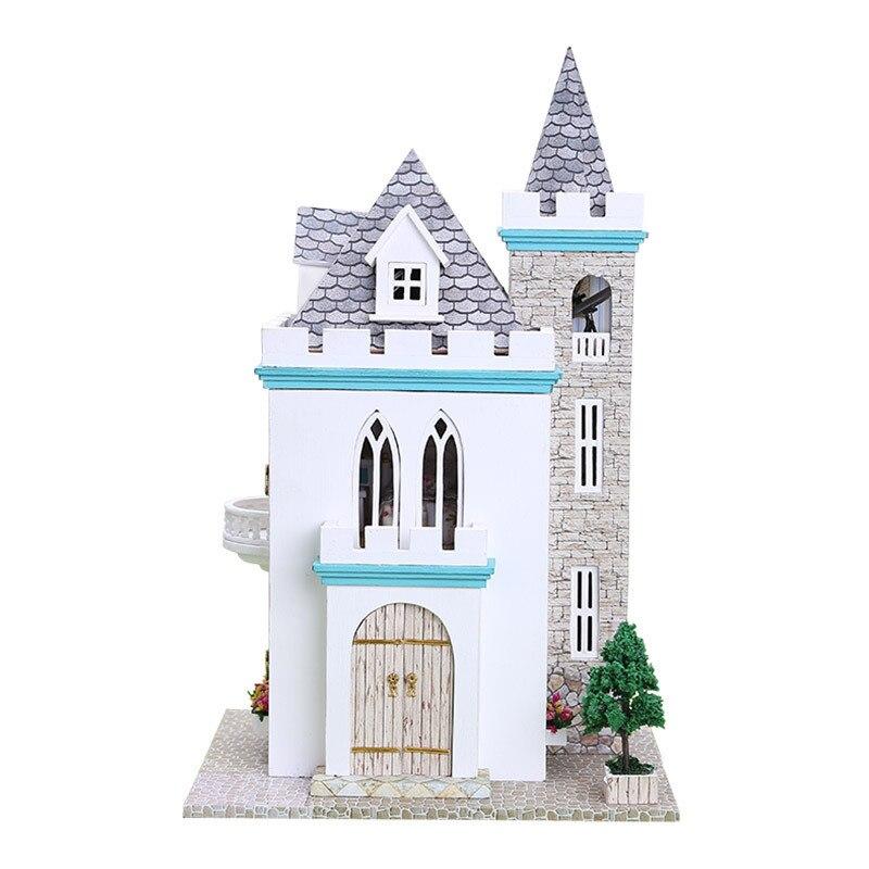Bricolage casa de madera cabane clair de lune château maison assemblée à la main modèle villa mâle cadeau d'anniversaire jouets en bois puzzle 3d maison de poupée