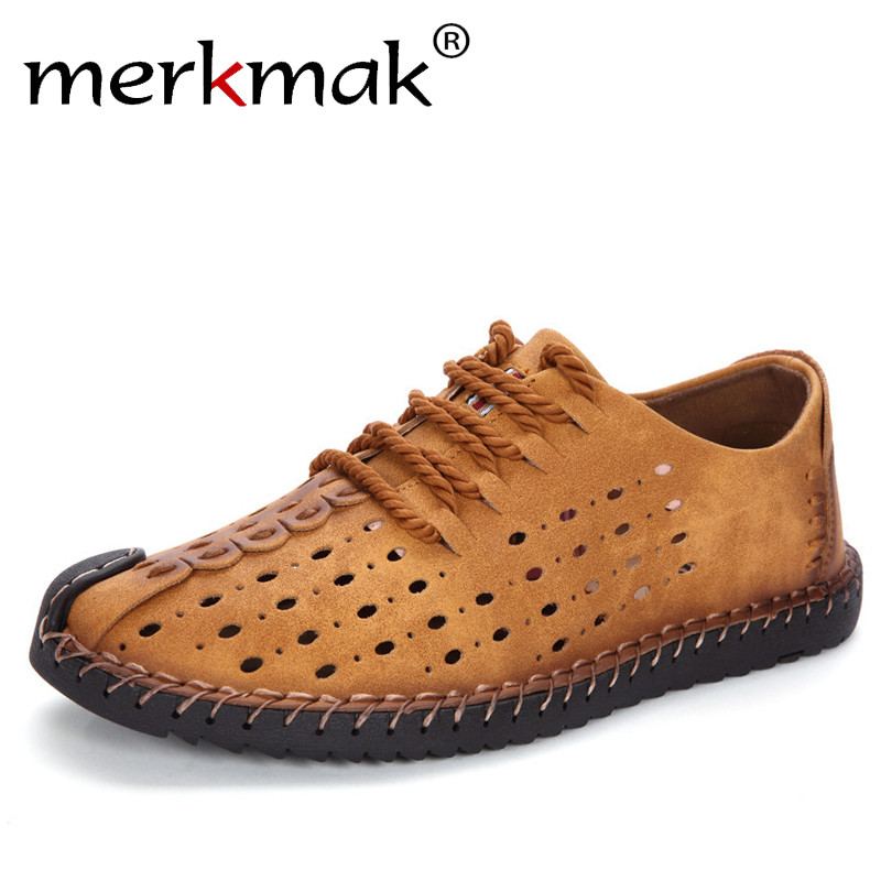 Merkmak Summer Men Casual Shoes Microfiber Leather Breathable Hole Comfort Leisure Footwear For Men Lace Up Man Shoes Brand afs jeep 2016 summer original brand man s casual mid length back pocket jeans wholesale price classical design leisure jeans men