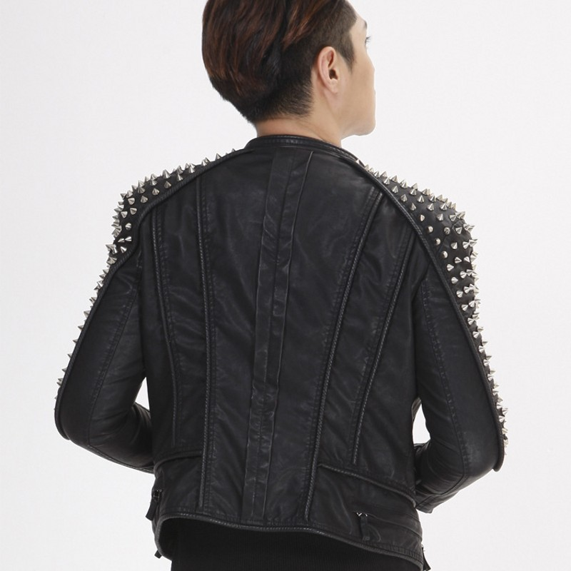 Image 5 - High Quality Pu Leather Mens Rivet Motorcycle Biker Jacket Slim Fit Runway Unisex Short Jackets Punk Leather Coat Plus Size 6XL-in Faux Leather Coats from Men's Clothing