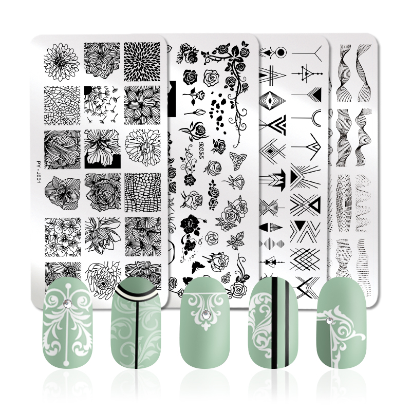 Image 2 - PICT YOU Rose Flower Series Stamping Plates Stainless Steel Nail Image Plate Stamp Template Design Nail Plate-in Nail Art Templates from Beauty & Health