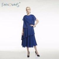 Ярко синий шифон мать невесты Вечерние платья платье для матери vestido de Festa чай Длина vestido de madrinha