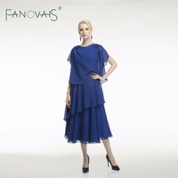 Royal Blue Chiffon Mother Of the Bride Dresses Formal Evening Dress for Mother Vestido de Festa Tea lengthvestido de madrinha