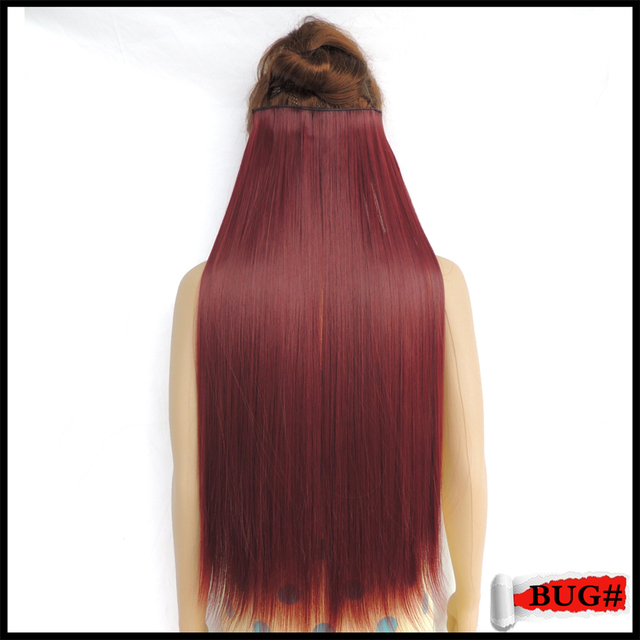 Clip On Hair Extension Synthetic Extensions Mega Extensiones Wine