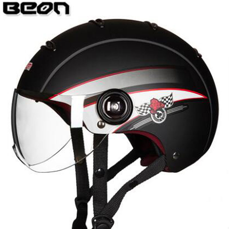 BEON Helmets Women Men Half Face Motorcycle Helmets Harley Half Cover Electric Motorbike Safety Summer Helmet Open face 2016 newest netherlands authorization beon retro air force harley style half face motorcycle helmet b 100 of abs matte black cat