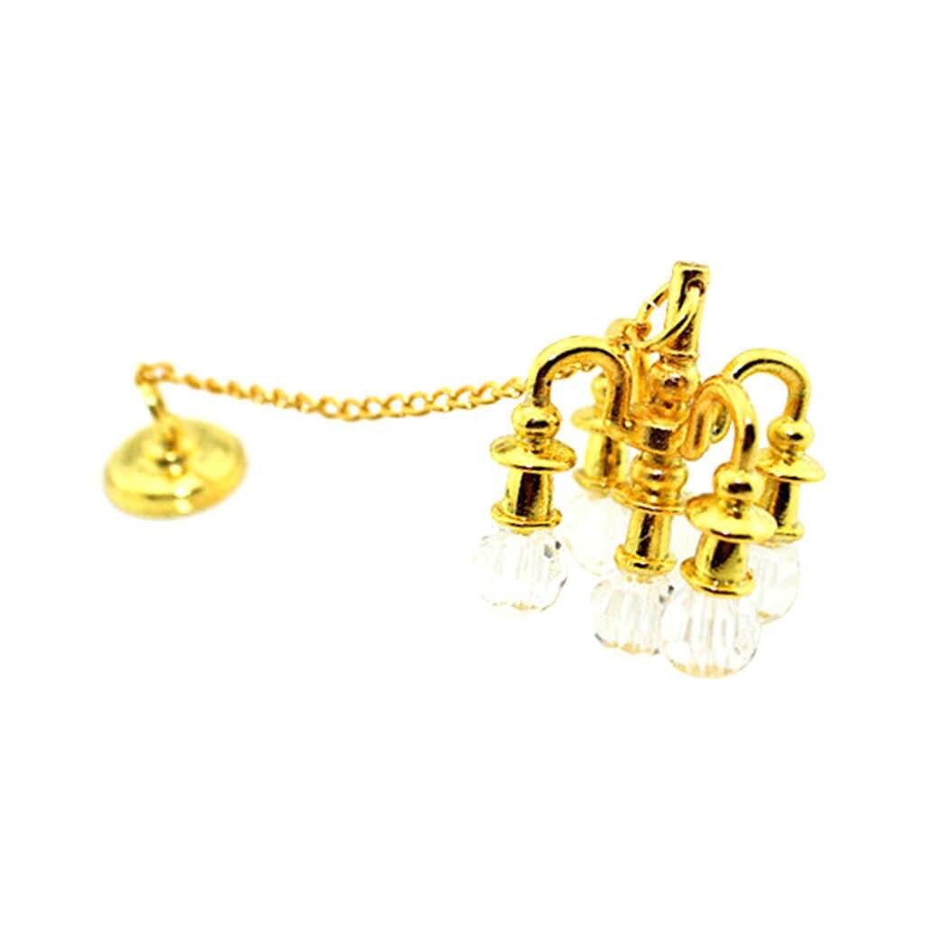 1:12 Кукольный дом Миниатюрный стальной потолочный светильник лампа с каплями 1/12 кукольный домик комната ACCS золото для кукольной мебели украшения Аксессуары