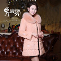 2016 New Real Rabbit Fur Jacket with Fox Fur Collar Winter Women Jackets Genuine Fur Warm Coats With Flowers
