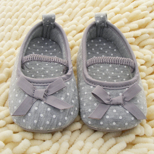 New Baby Baby Shoes Soft Bottom Antiskid Toddler Kids Polka Dot Bowknot Crib Baby Shoes