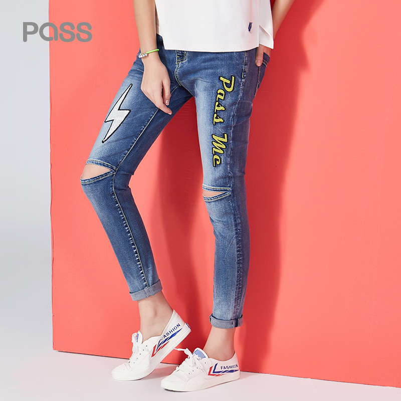 Pass Hole Ripped Jeans Woman Mid Waist Elastic Cotton Pants Woman Casual Printed Lighting Full Length Jeans Skinny Female Pants