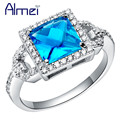 Rings For Women Blue Vintage Ring Wedding Party Sapphire Jewelry Charms CZ Diamond Silver Bague Femme Hot New Fashion 2016 J080