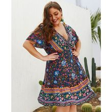 цены на 2019 Women Plus Size BOHO V Neck Floral Print Summer Short Sleeve Holiday Beach Sundress Mini Dress в интернет-магазинах