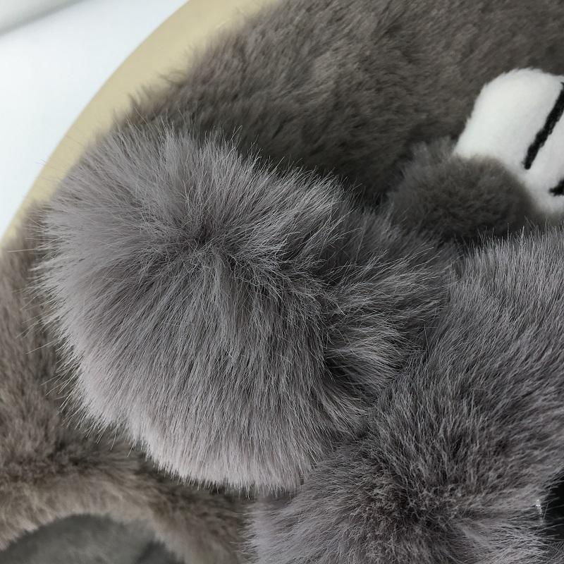 Femmes grey D'intérieur Xiaguocai Maison Black En Chaussures Lapin Gros Pantoffels La Chaud cherry À Pantoufles Unisexe Eenhoorn Pour Peluche Hiver pink UraxUv
