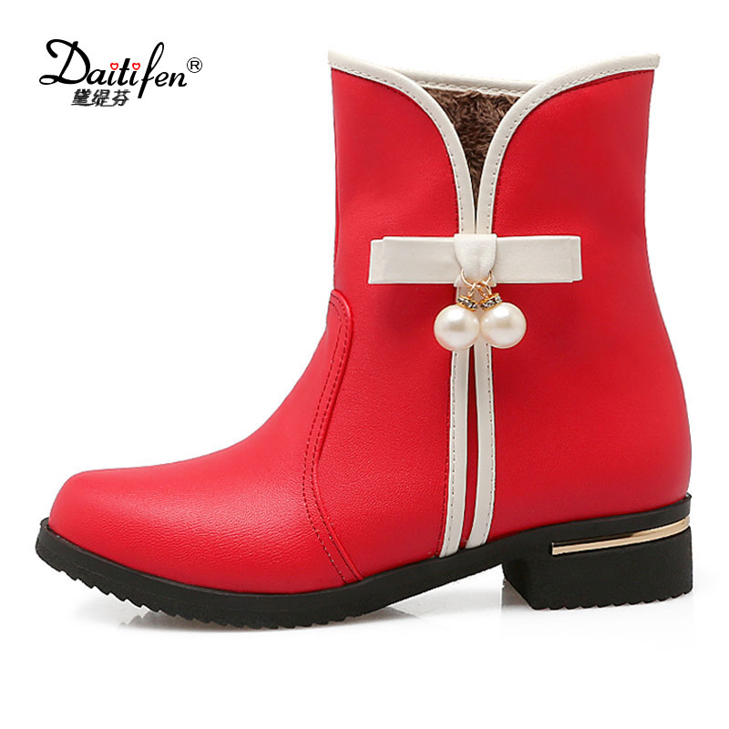 Daitifen A Big Size 34-43 Winter Snow Boots Women Ankle Boots 2018 Round Toe Platform Winter Shoes With Fur Woman Fur Shoes enmayer hot new fashion round toe lace up flat ankle snow boots for women winter boots shoes large size 34 43 platform shoes