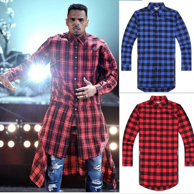 hip hop clothing tyga mens fashion camisa masculina plaid shirts