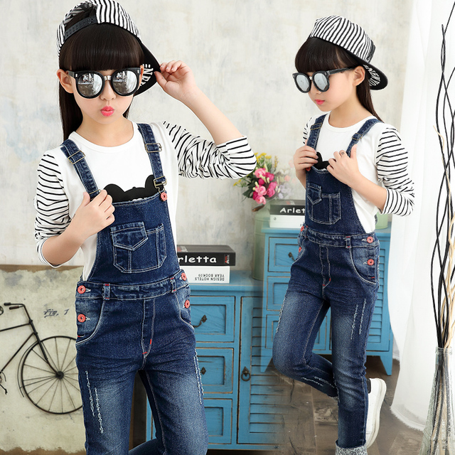8f53a7d7e Girls Jeans Pants Autumn Kids Denim Overalls for Girls Jumpsuit ...