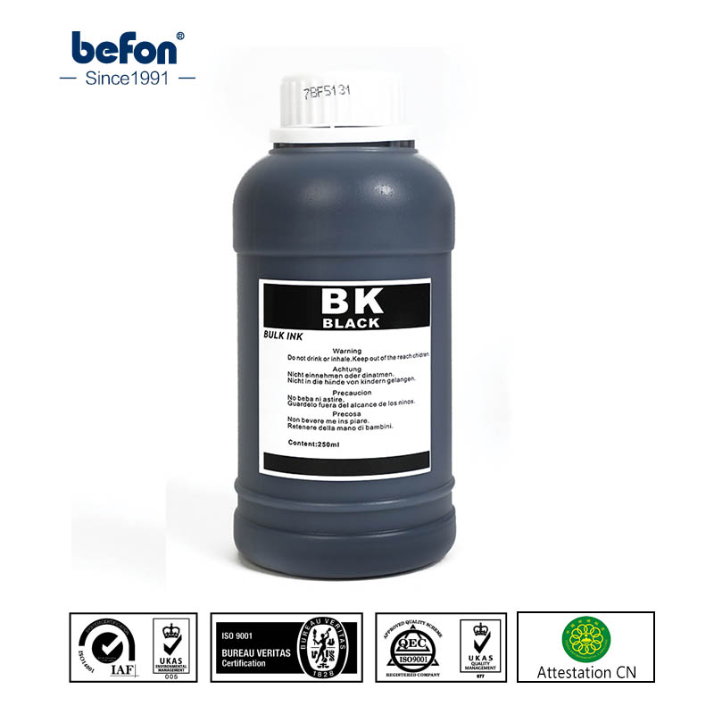 Befon preto ciss recheio tinta de tinta da foto tinta universal compatível para impressoras e cartuchos de tinta hp canon epson irmão 250ml
