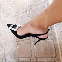 Ladies Shoes Woman Crystal Buckle Strap Pumps High Heels Slingback Satin Sapato Feminino Black Pointed Toe Cut-out Wedding Shoes