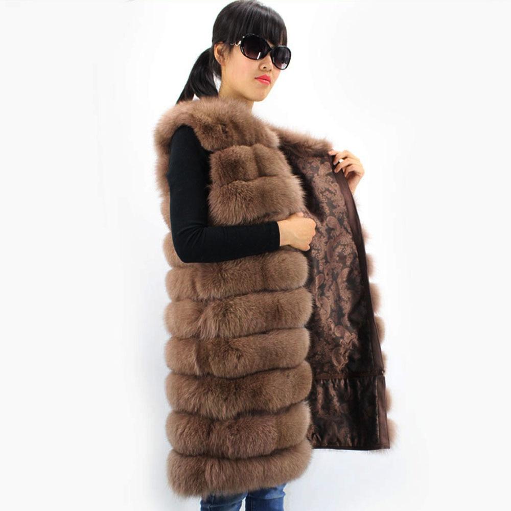 Longues Chaud Gilet Nouveau Manches Fourrure Color1 Femmes Hiver Naturel black À Renard De 1000 Manteau Automne OqwvqaxBU
