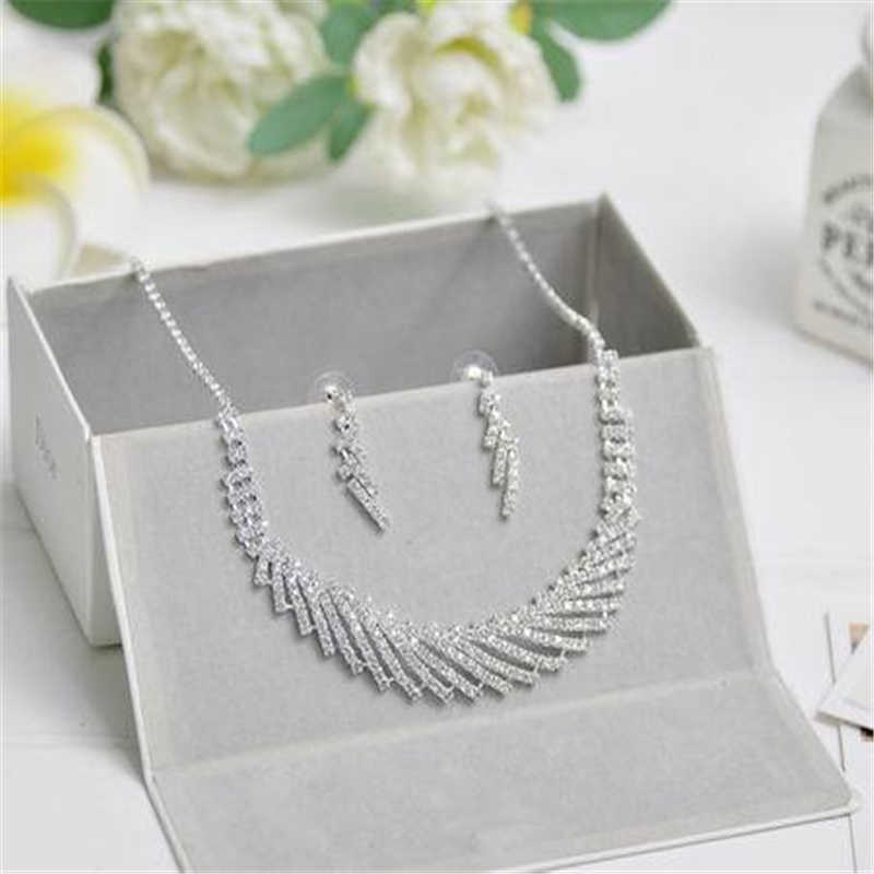 Classic Elegant Silver Tassel Crystal Bridal Jewelry Sets African Rhinestone Wedding Necklace Earrings Sets