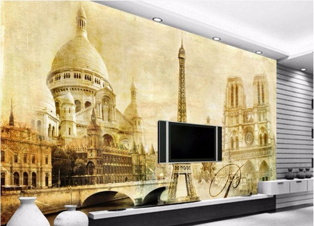 Online Shop WDBH custom mural 3d wallpaper European Paris Eiffel