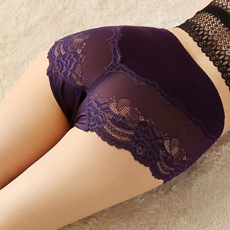 High Waist Lace Plus Size   Panties   Women Ice Silk Transparent Large Size Satin Briefs Intimates Female Big Underwear 4XL 5XL 6XL
