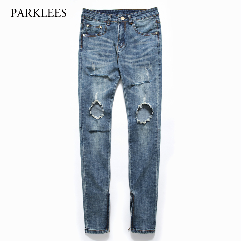 Blue Ripped Jeans Men 2017 Fashion Bottom Zipper Design Mens Stretch Jeans Casual Slim Fit Washed Cotton Biker Denim Jeans Homme skinny jeans men 2017 brand washed ripped jeans men casual slim fit mens biker jeans hip hop hipster zipper jeans pants homme