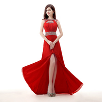 Real Photos Red Evening Dress New A Line Halter Beaded Crystals Chiffon Long Formal Party Gown Plus Size