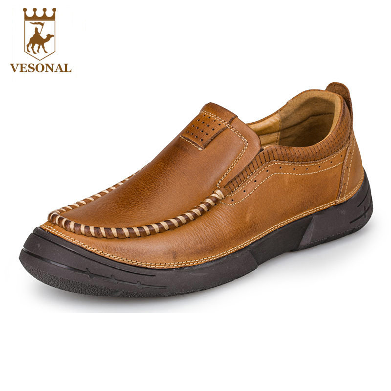 VESONAL Brand Casual Shoes Men Loafers Adult Footwear Ons Walking Quality Genuine Leather Soft Mocassin Male Boat Comfortable vesonal brand casual shoes men loafers adult footwear ons walking quality genuine leather soft mocassin male boat comfortable