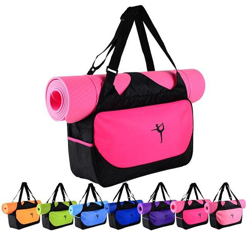 Gym Mat Nylon Backpack Shoulder Messenger Carriers Yoga Pilates Mat Bag(without Yoga Mat) Multifunctional Waterproof Yoga Bag
