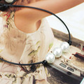 Fashion Elegant Simple Imitation Pearl Necklace Handmade Black Leather Choker Colar Women Choker Necklace Jewelry