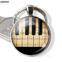 Piano Keyboard Photo Pendant Key Chain Vintage Silver Color Keyring Fashion Musical Instruments Glass Jewelry Best Gifts
