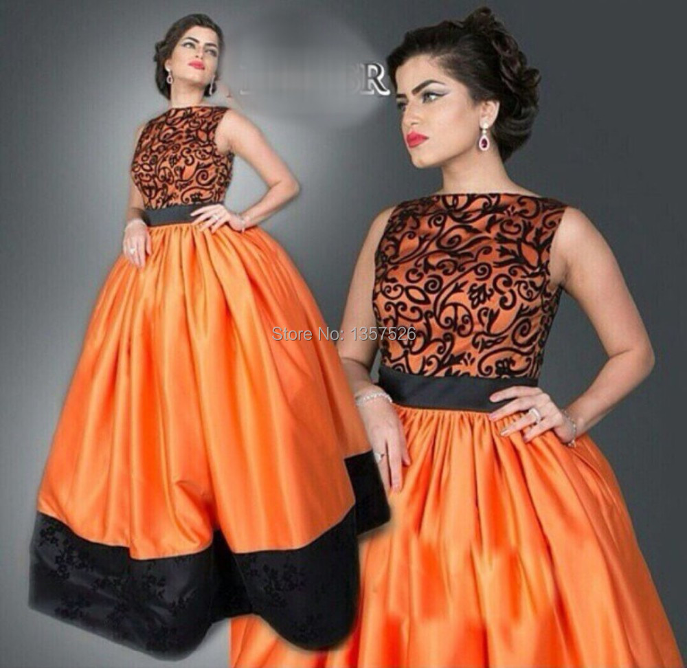 Compare prices on evening dress orange black online shoppingbuy muslim arabic evening dresses black lace appliques floor length ball gown 2017 fashion orange prom dresses ombrellifo Image collections