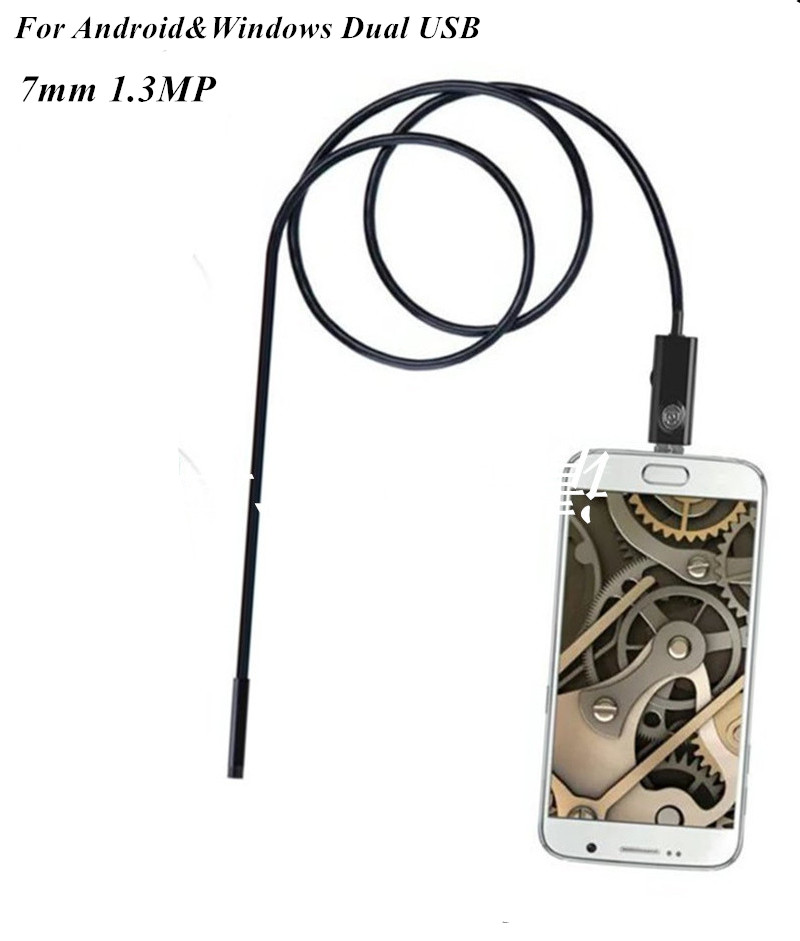 7mm 2in1 Dual USB Endoscope For Android and Wondows CMOS Borescope 2m/5m 2m clip and magnet dual purpose usb endoscope cctv monitor