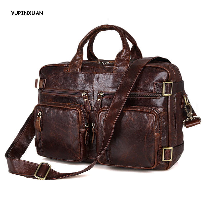 YUPINXUAN Cow Leather Handbags for Men Genuine Leather Messenger Bags High Capacity Briefcases Cowhide Travel Hombre Hand Bags yupinxuan dark brown crazy horse leather handbags men first layer cow leather messenger bags high capacity leather shoulder bags