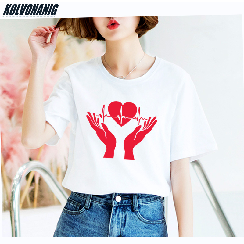 Summer Loose O Neck Good Quality Hip Hop Women 39 s T Shirt Coolest Heart Heartbeat In Hands Open Palms Cardiogram Print Tee Shirts in T Shirts from Women 39 s Clothing